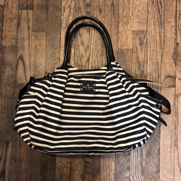 kate spade Handbags - Kate Spade Black & White Striped diaper bag